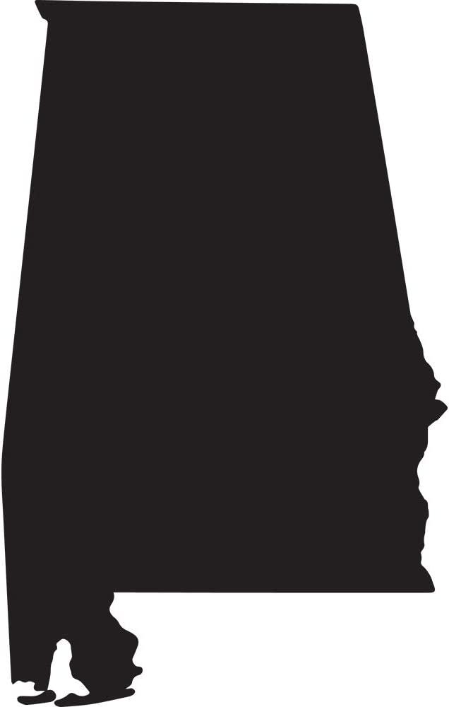 NBFU DECALS Alabama Silhouette Map Outline State (Black) (Set of 2) Premium Waterproof Vinyl Decal Stickers for Laptop Phone Accessory Helmet Car Window Bumper Mug Tuber Cup Door Wall Decoration