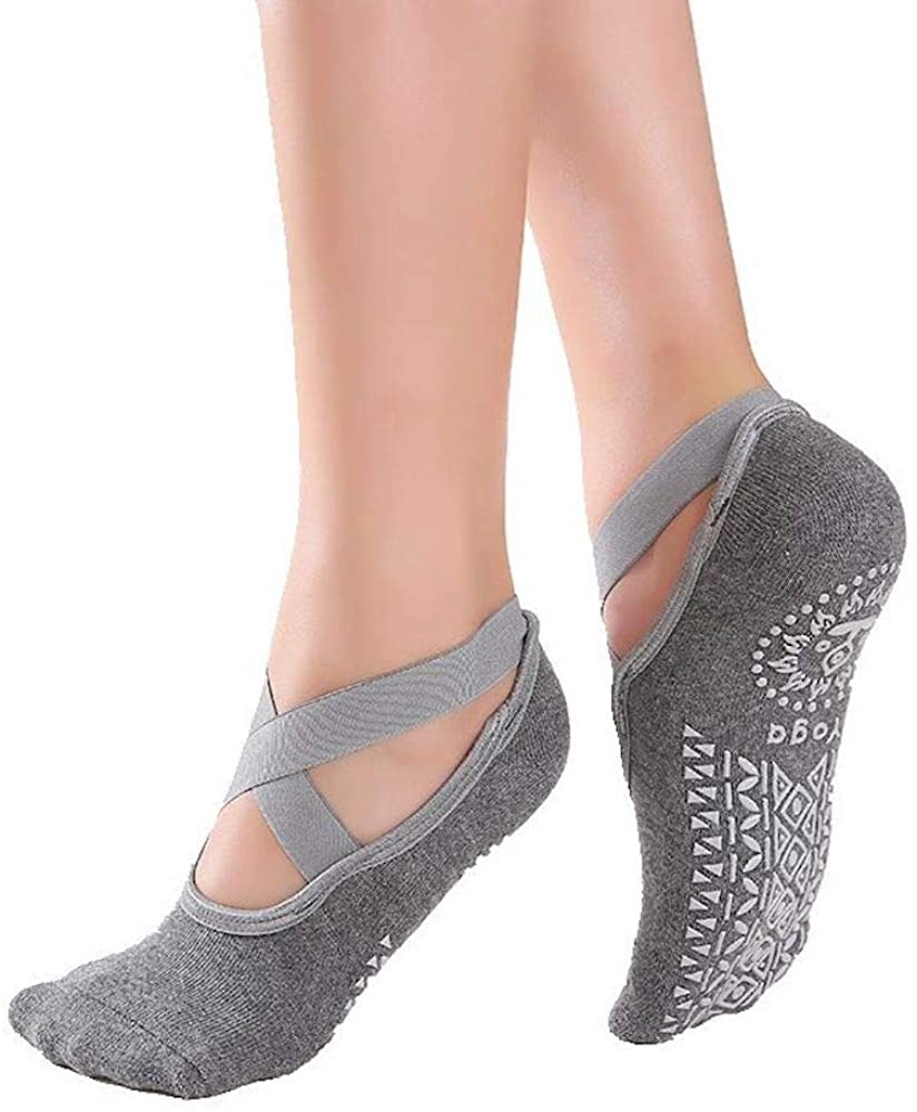 Yoga Socks for Women Non-Slip Grips & Straps, Pilates, Pure Barre, Ballet, Dance, Indoor exercise,Barefoot Workout