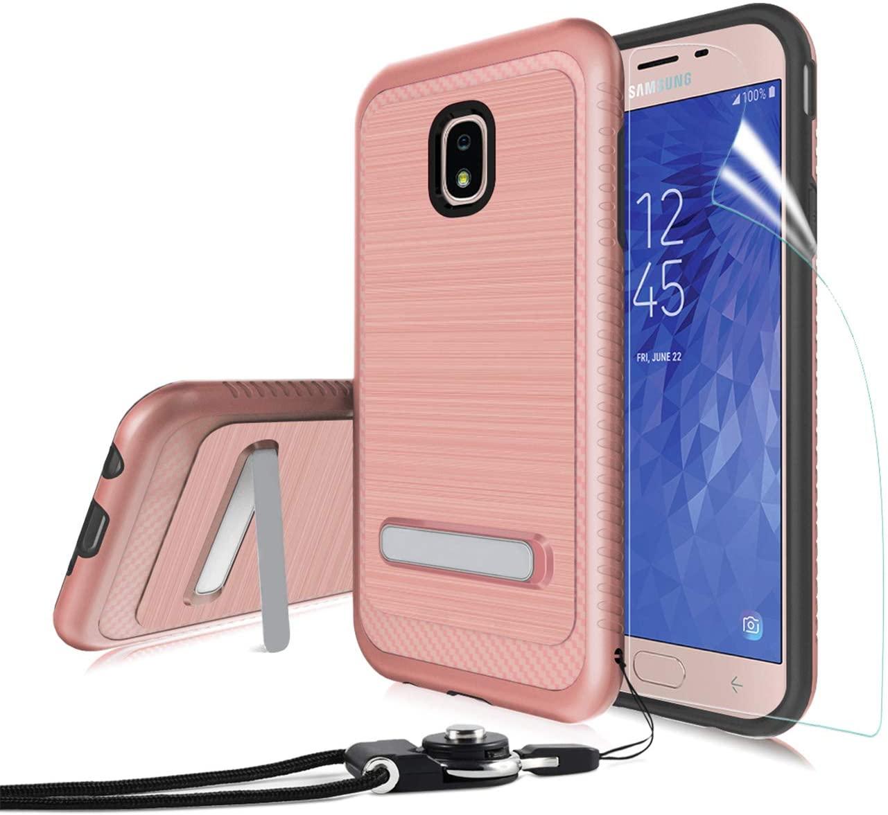Wallme Samsung Galaxy J3/J3 2018 Case,J3 Orbit/J3 Achieve/Express Prime3 w/ Tempered Glass Screen Protector & Stand [Dual Layer] Phone Case-Rosegold