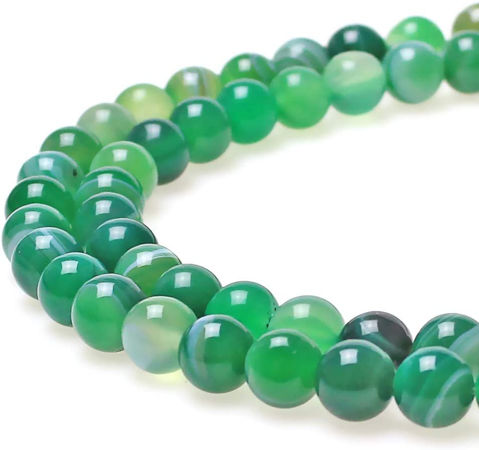 JARTC Natural Stone Beads Green Striped Agate Round Loose Beads for Jewelry Making DIY Bracelet Necklace (10mm)