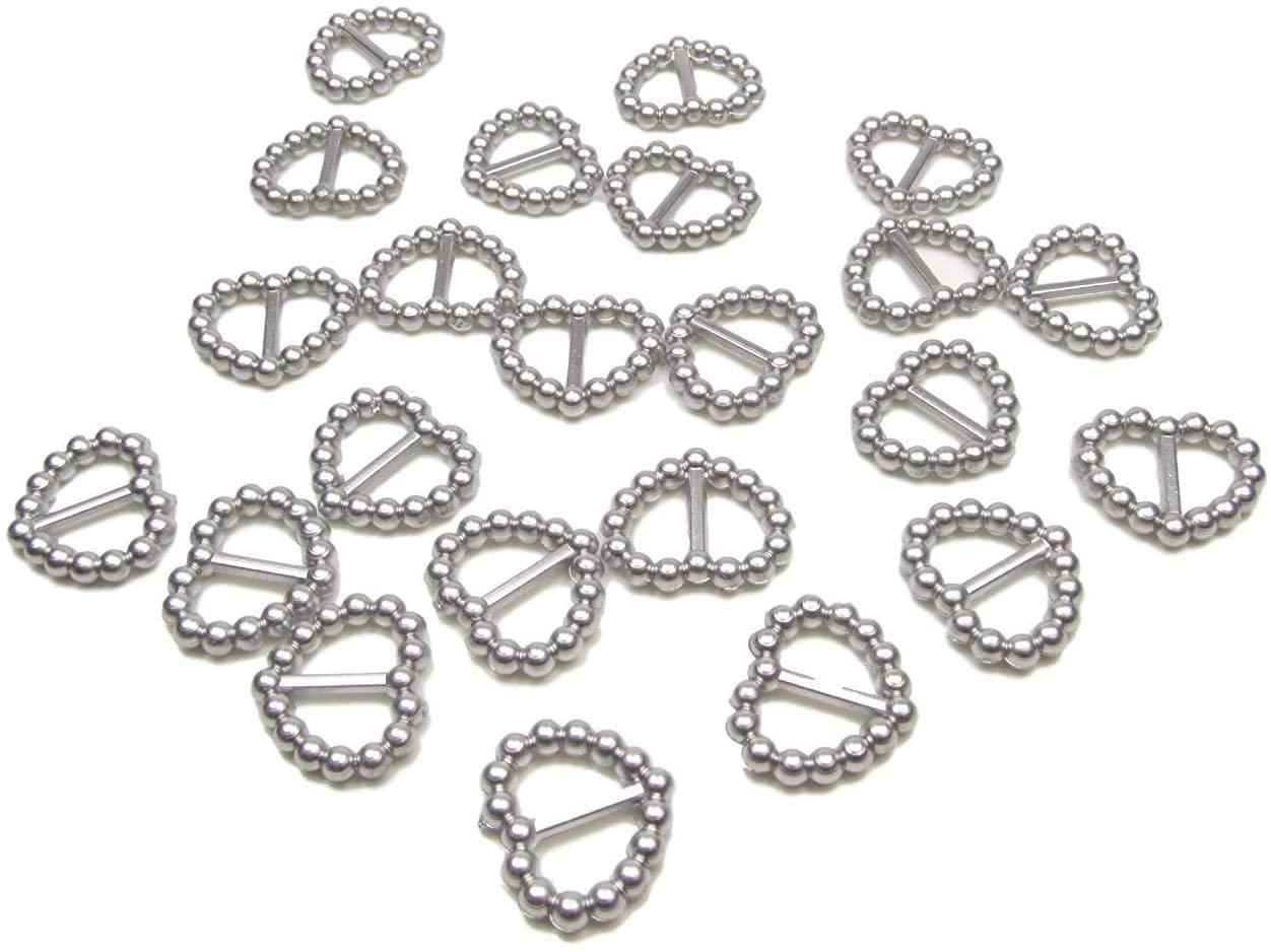 200pcs Silver Heart Shaped Wedding Invitation Ribbon Slider Buckles 16mm x 15mm Wedding Card Invitation Embellishments