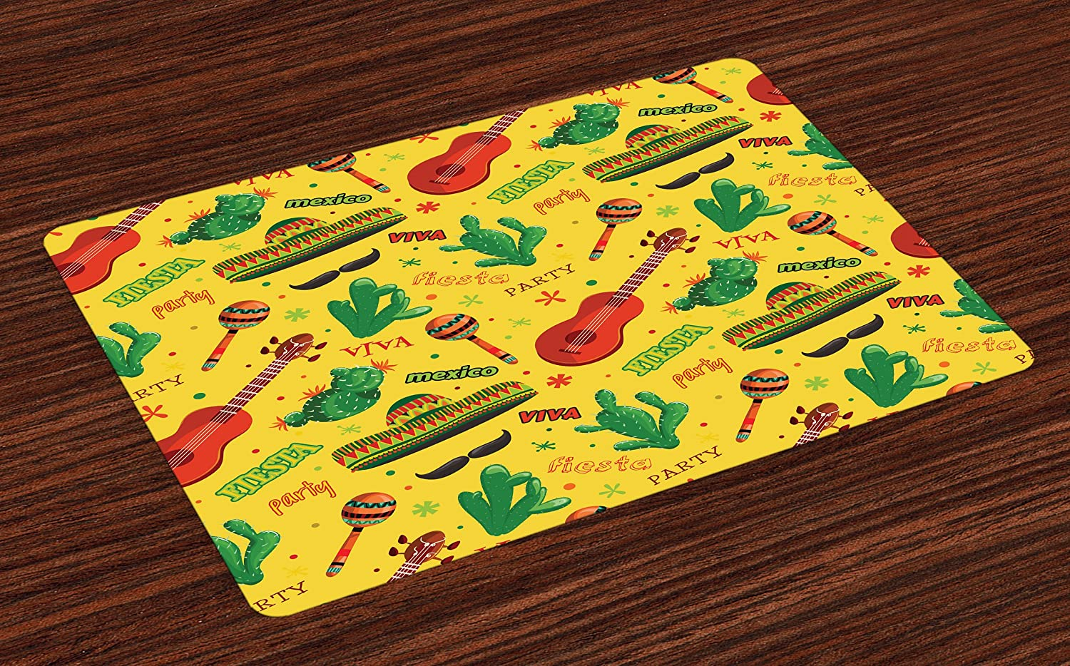 Lunarable Mexican Place Mats Set of 4, Fiesta Party Dancing Patriot Spanish Mexican Travel Destinations Exotic Vacation, Washable Fabric Placemats for Dining Table, Standard Size, Multicolor