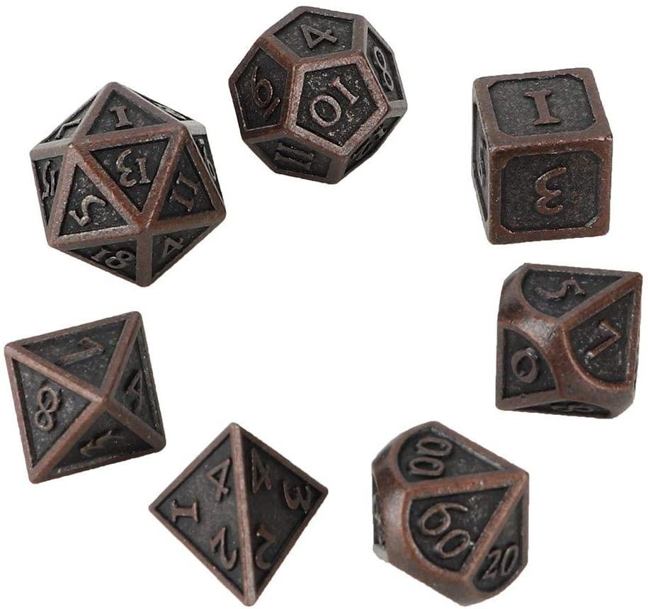 SolUptanisu Dice,7pcs Metal Dice Vintage Polyhedral Dices Irregular Shape Table Game Dice Game Poker Games Dices Set Polyhedral Ornamented Dice Set