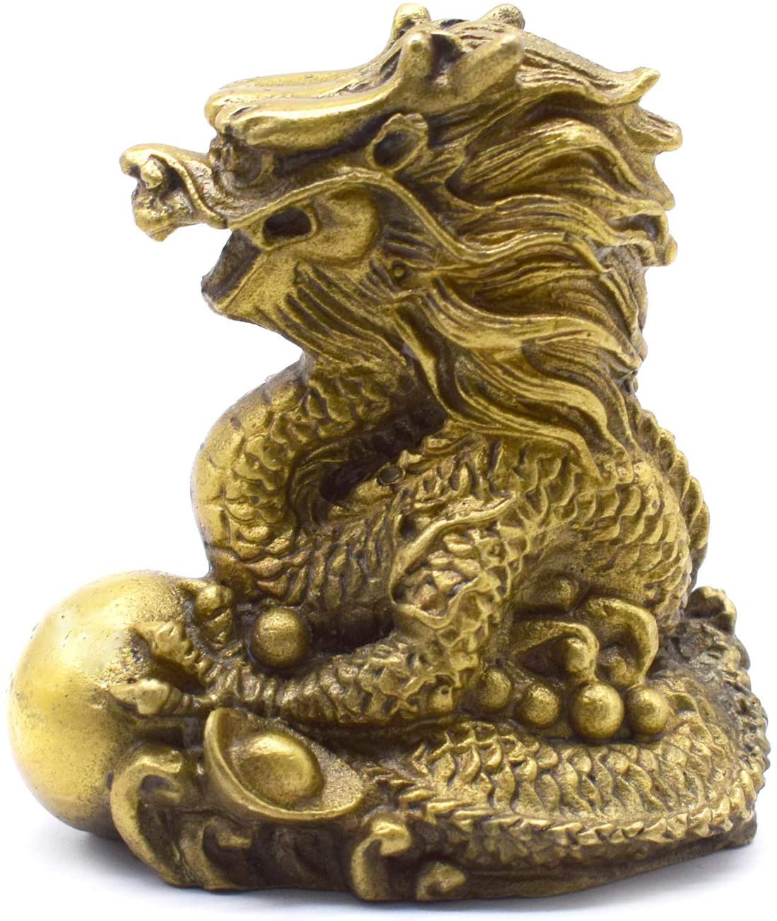 better us Chinese Feng Shui Dragon Brass Statue Sculpture Home Office Decoration Tabletop Decor Ornaments for Wealth and Success Good Lucky Gifts (Small)