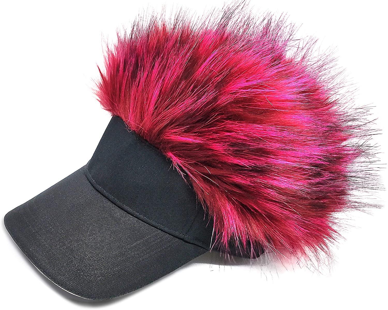 Women Men's Novelty Flair Spiked Hair Visor Furry Faux Fox Fur Hat Fake Wig Peaked Adjustable Funny Golf Baseball Cap