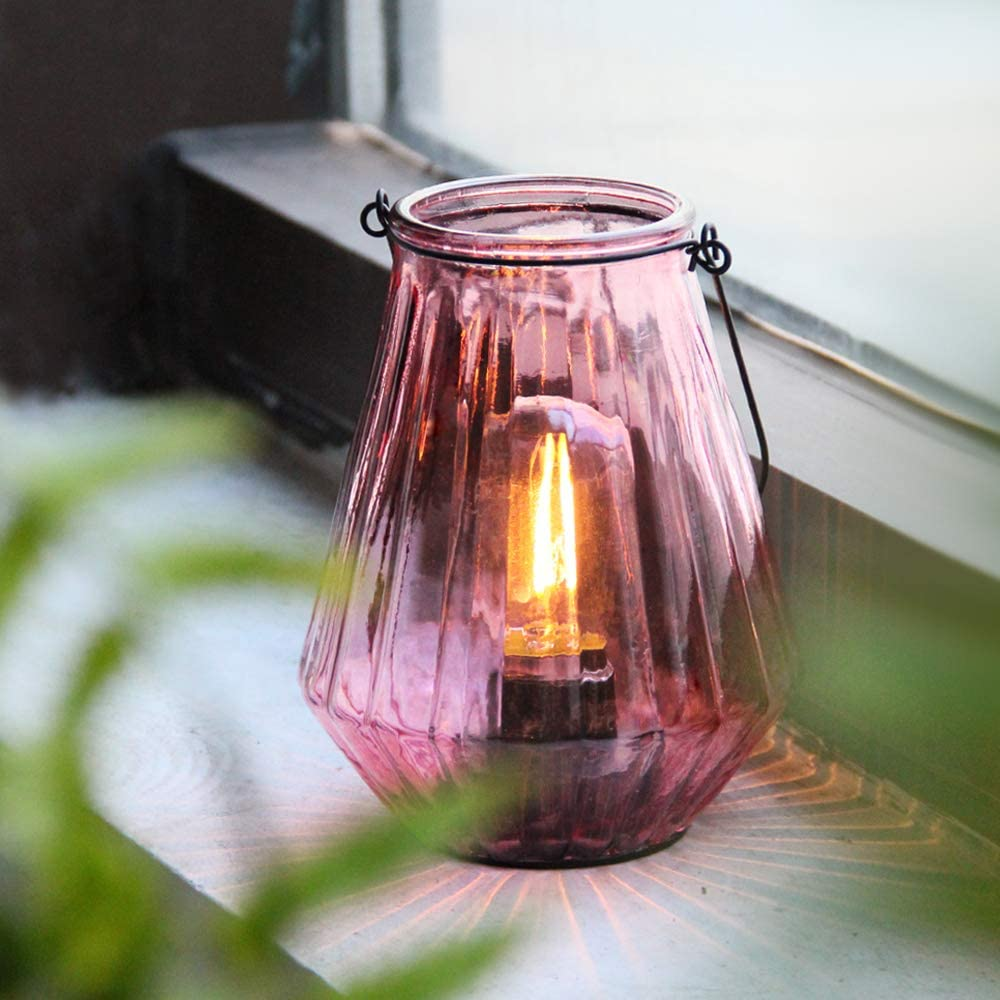Cordless Lanterns Battery Powered Lamps, Decorative Hanging Battery Operated Nightlight with LED Bulb with Timer, Outdoor Indoor Decor Lights for Home Hallway Bedroom Tabletop Fireplace Party(Blush )