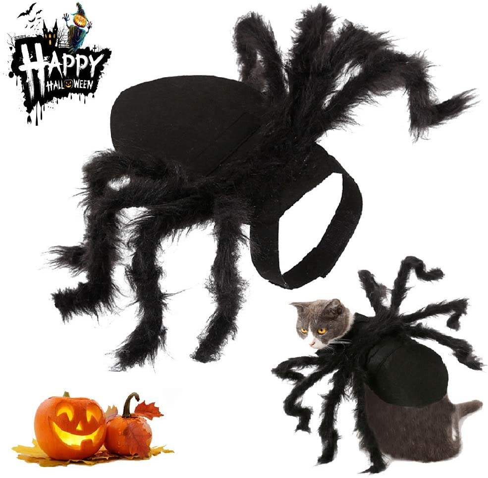 INVECHI Halloween Spider Pet Costume,Cute Halloween Pet Cosplay Spider Costumes for Dog, Cats Dress Funny Party Dress Up Horror Simulation Plush Spider Cosplay Scary Costumes Accessories Decoration
