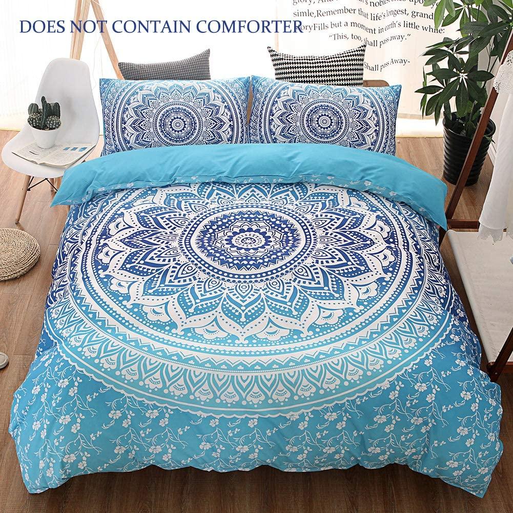 QYsong Bohemian Mandala Duvet Cover Set King Size (104x90 Inch), 3pc Include 1 Blue Boho Chic Microfiber Duvet Cover and 2 Pillowcases, Zipper Closure Bedding Set for Boys, Girls, Kids and Teens