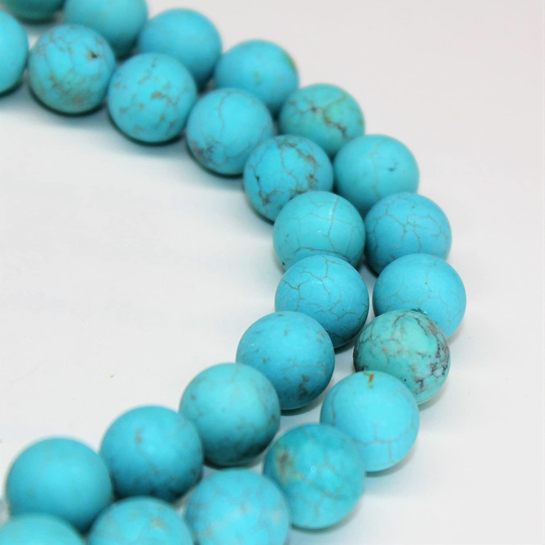 Lynxus Matte Blue Howlite Turquoise Gemstone Loose Beads 8mm 46 Beads Per 15.5