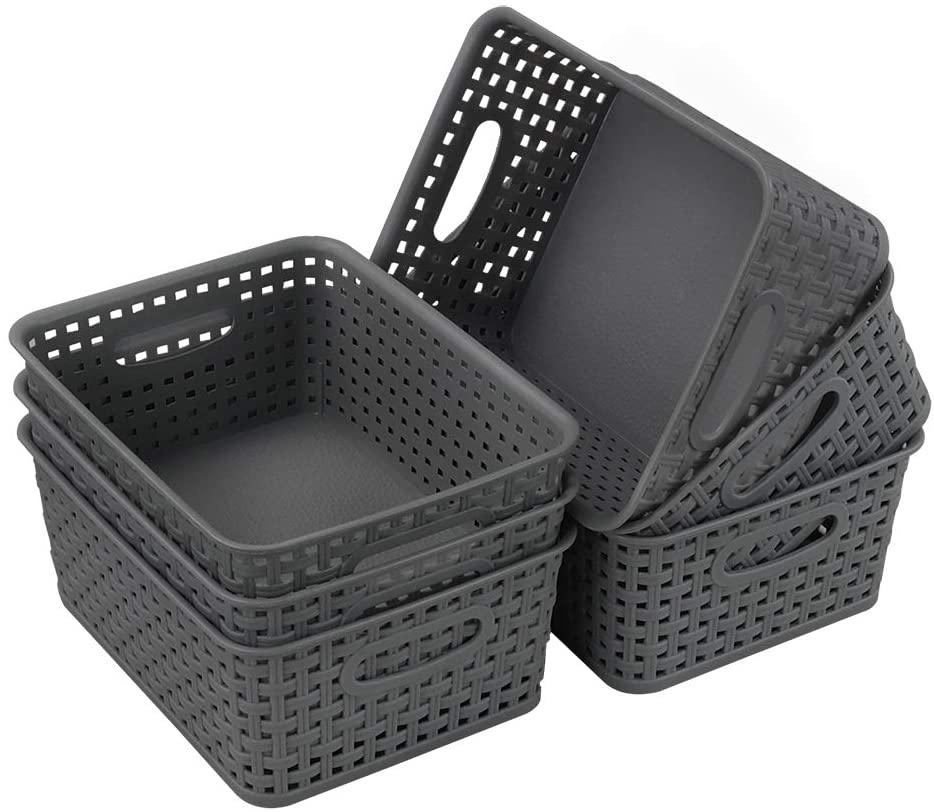 Gloreen Grey Plastic Basket, Small Weave Storage Baskets, 6 Packs