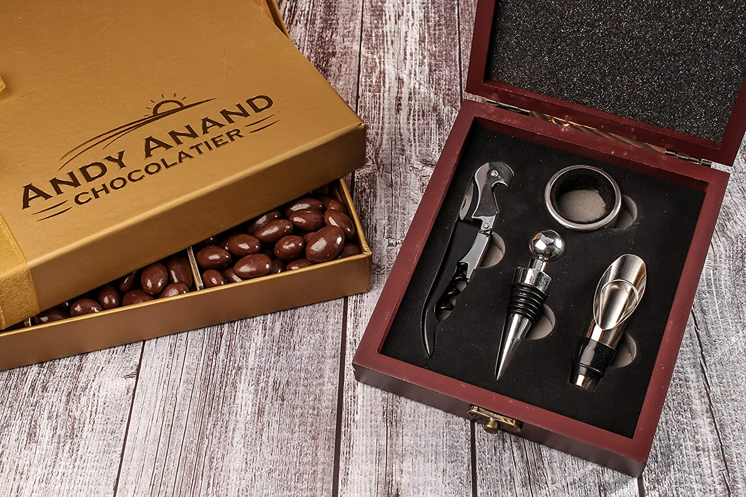 Andy Anand's Chocolate covered Almond 1 lbs, & Deluxe Mahogany Wine Opener Set, for Birthday, Valentine Day, Gourmet Christmas Holiday Food Gifts, Thanksgiving, Halloween, Mothers day, Fathers Day