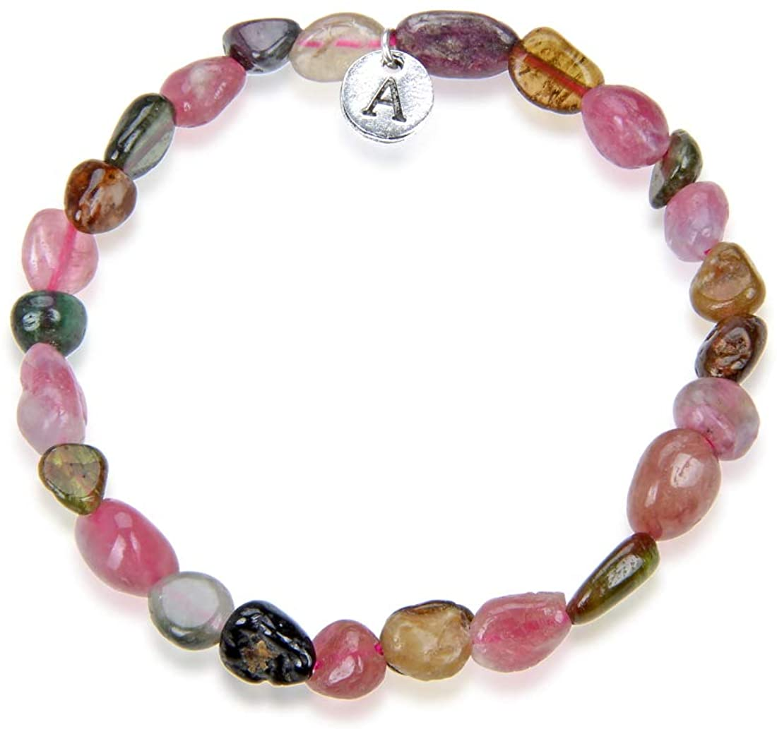 Adabele 1pc Natural 7 inch 7.5 inch Gemstone Bracelet Stretchy Chakra Gems Stones 5-8mm Free Form Beads Healing Crystals Engergy Quartz Women Girls Birthday Gift