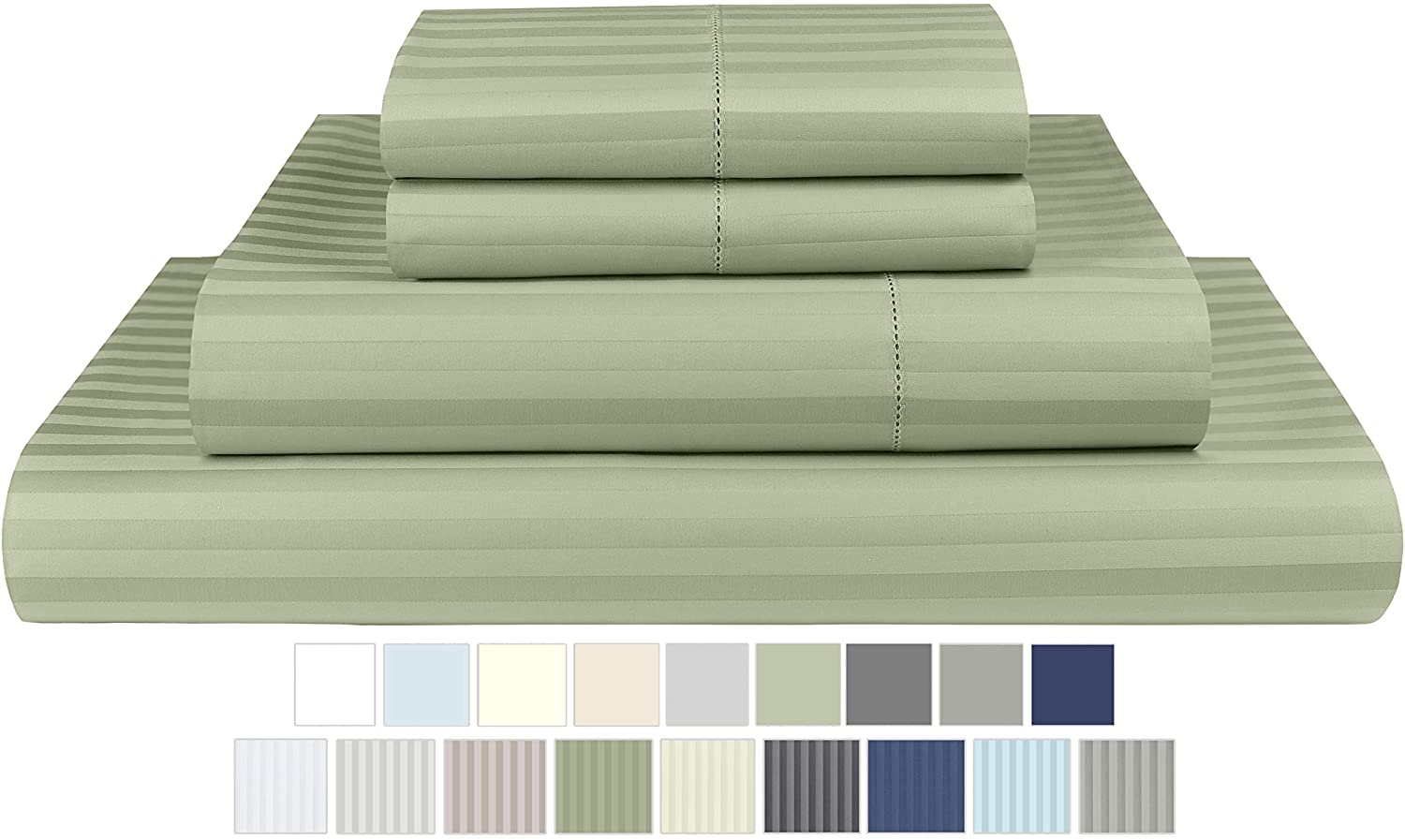 Threadmill Home Linen 600 Thread Count Twin XL Sheets Sets - 1CM Damask Stripe 100% ELS Cotton Sheets for Twin XL Size Bed, Luxury 3 Piece Bedding Set with Deep Pocket Fitted Sheet, Sage