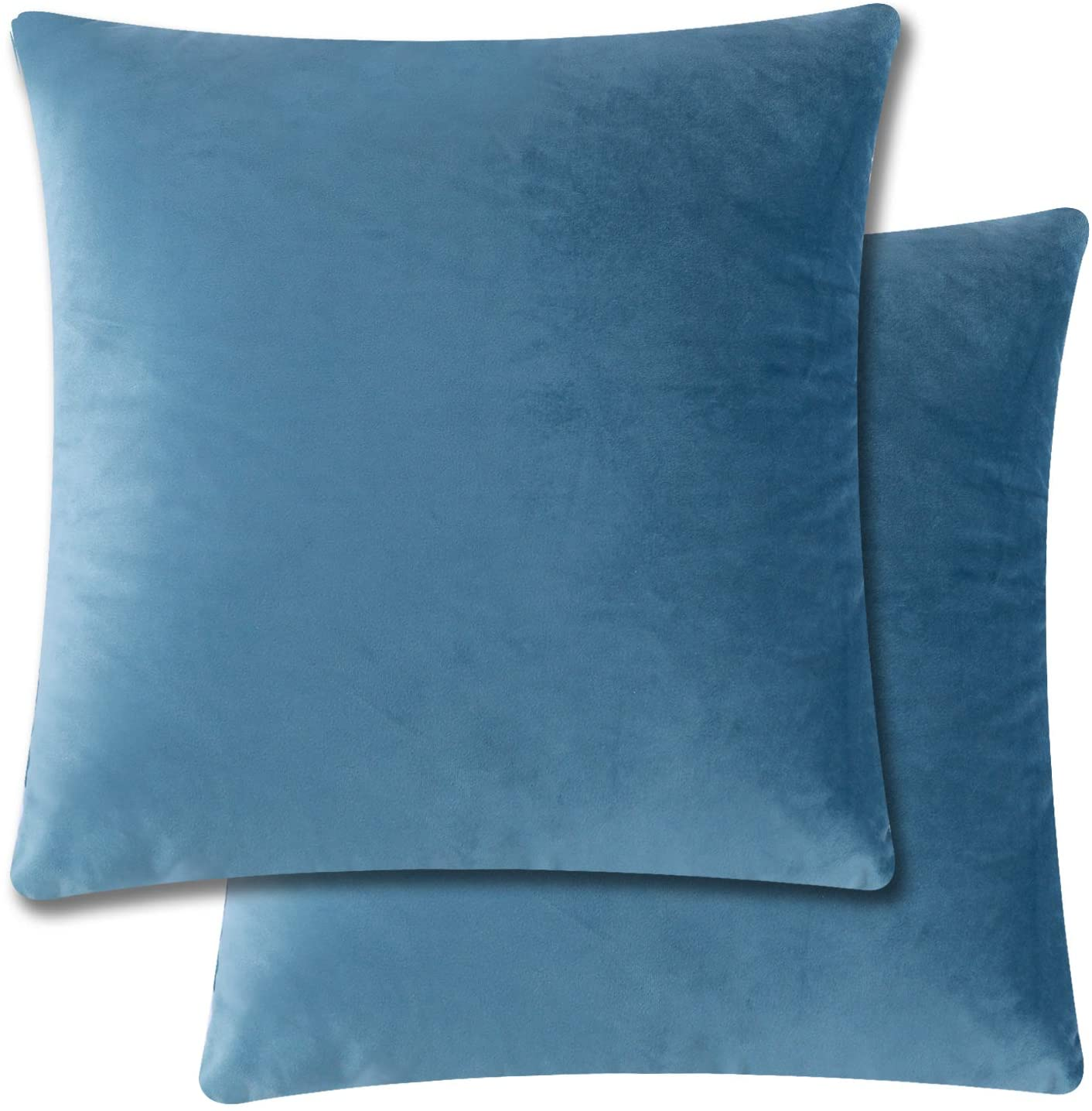 Tosewever Pack of 2 Throw Pillow Covers Cases Velvet Soft Soild Decorative 18 x 18 Inches Square Cushion Covers for Sofa Couch Bed Home Decoration Car (Grey Blue, 18