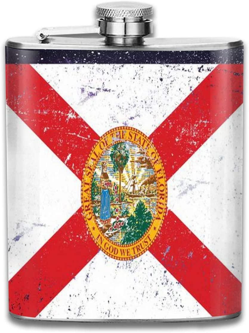 Flagon 2 Pcs Hip Flask for Liquor U-Shaped Florida Flag Distressed Vintage 304 Stainless Steel Leak-Proof Alcohol Whiskey Liquor Wine 7oz Pot Hip