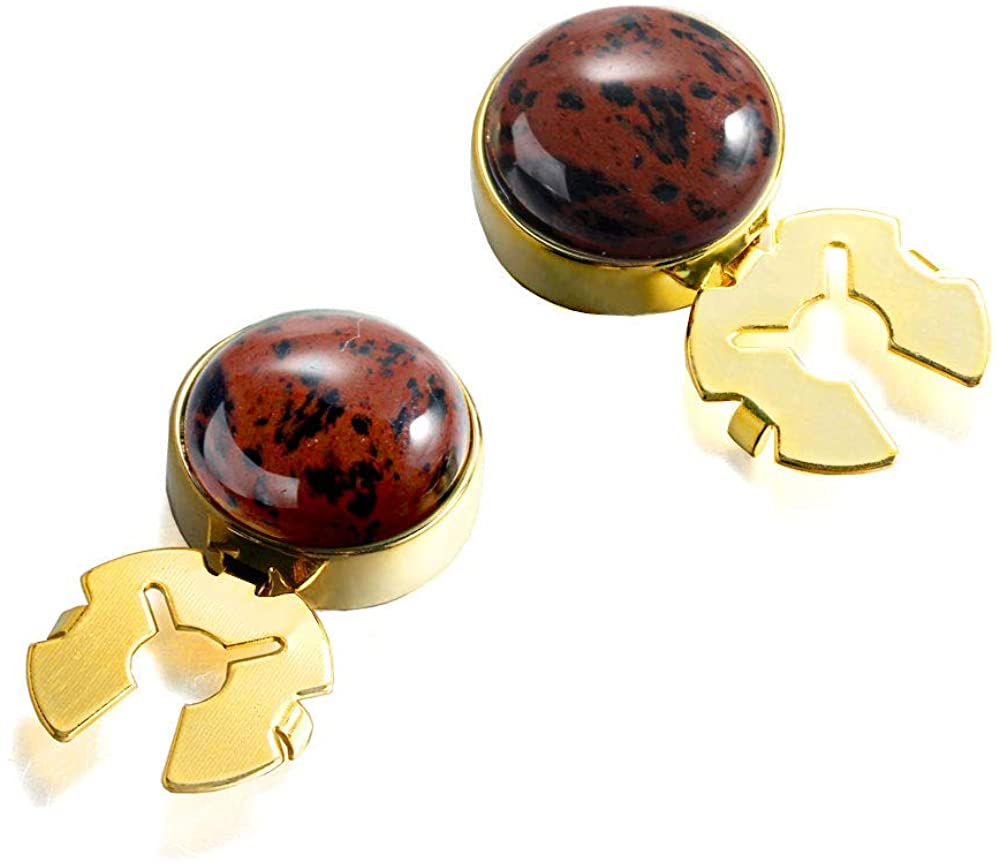 FORCEHOLD Natural Stone 17.5MM Button Cover for Tuxedo Business Formal Shirts Substitute to Traditional Cuff Links for Men-One Pair