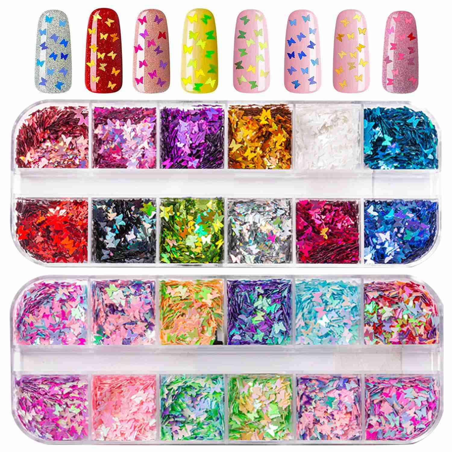 24 Colors/Set Nail Glitter Sequins - Nail Butterfly Flakes Holographic Glitter Nail Art Supplies Accessories - Nail Sequins for Nail Art Decoration, Acrylic Nails, Face, Eye, Hair and Body