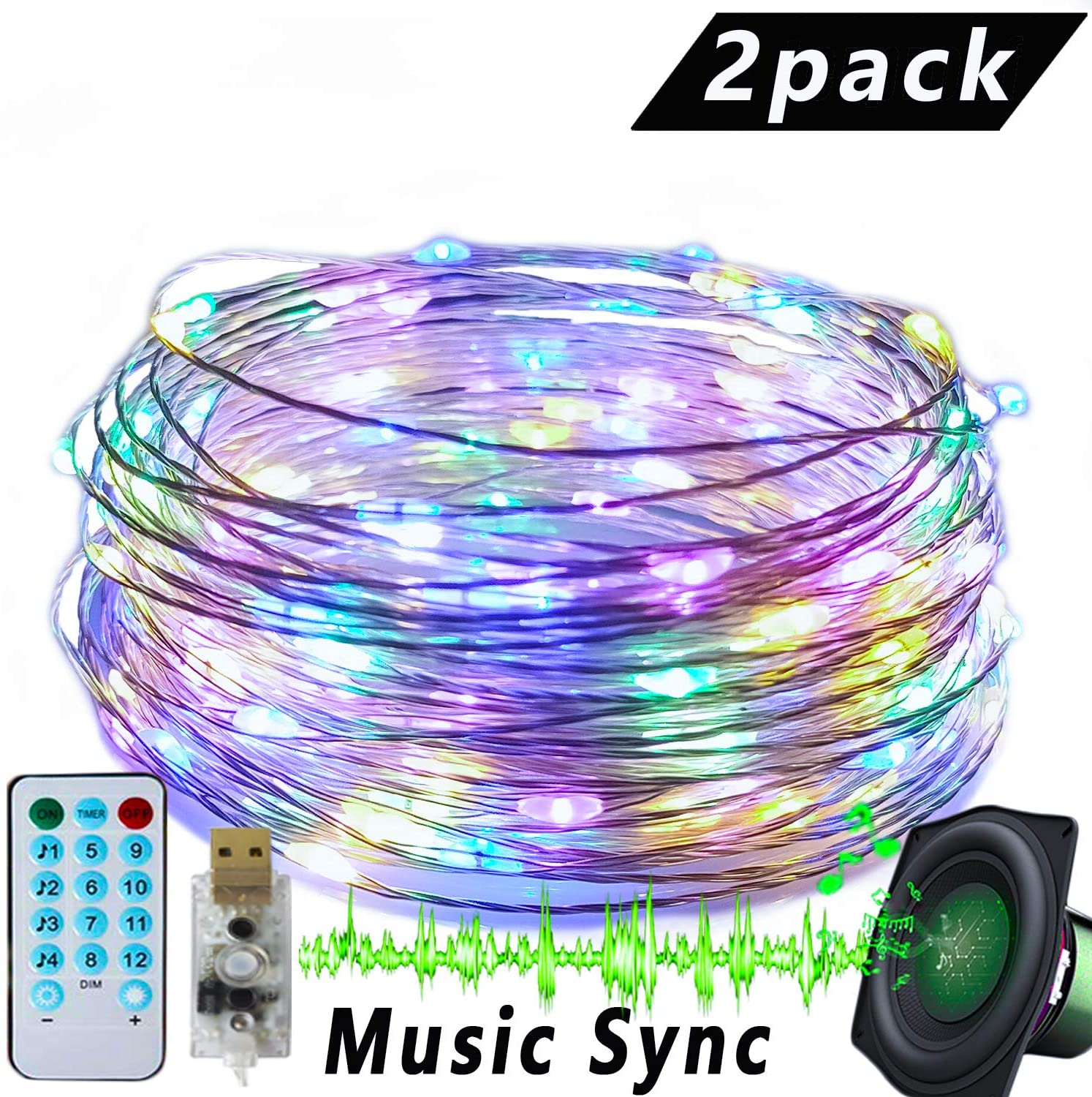 2 Pack Music Sync Starry Fairy Lights USB Powered 16.5 FT 50 LED 12 Modes with Remote Control Sound Activated Waterproof Copper Wire String Lights for Indoor Outdoor Ambiance Rope Light Multicolor