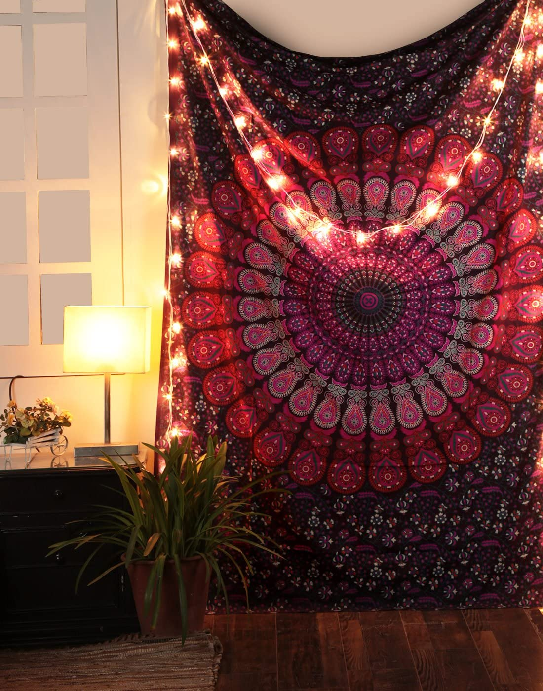 Peacock Mandala Tapestry - Hippie Wall Hanging Decorative Trippy Tapestries Bohemian Boho Bedding Indian Handmade Pure Cotton Bed Spread Sheet (Poster (50 x 60 in), Pink)