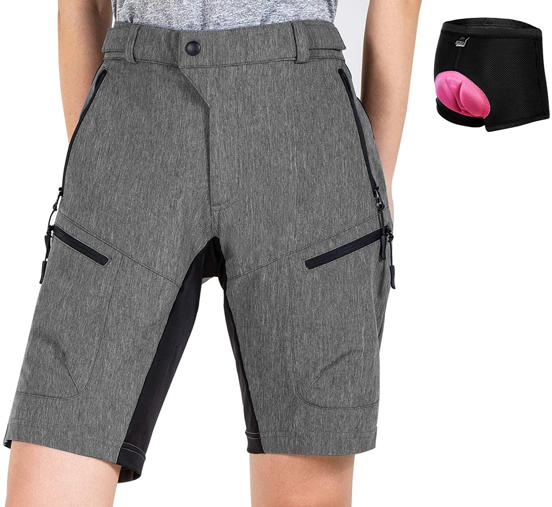 Cycorld Women's-Mountain-Bike-Shorts Padded-MTB-Shorts-Cycling-Shorts Baggy-Fashion-Breathable with Zip Pockets