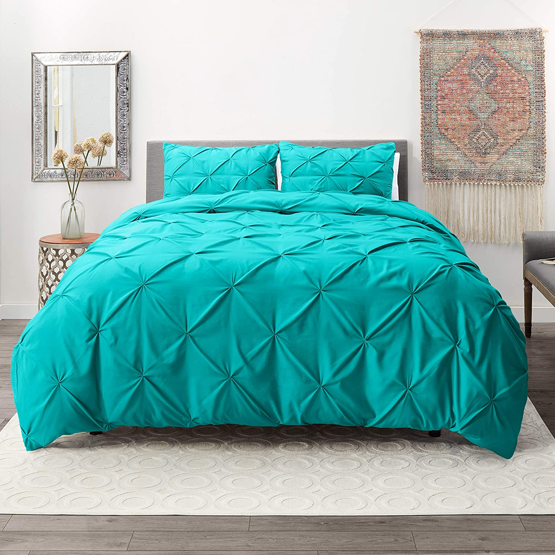 Nestl Bedding 2 Piece Pinch Pleat Duvet Cover Set | Teal Duvet Cover with 2 Pillow Shams |Microfiber Twin Duvet Cover Set