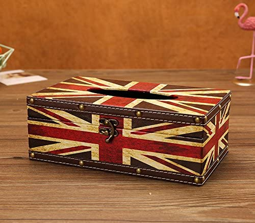 LANGUGU Vintage Chic Shabby Wooden Tissue Box Holder Rectangle Handcraft Tissue Paper Box Cover Napkin Organizer Holder Home Storage Room Office Car Decoration with Metal Lock (British Banner - B)