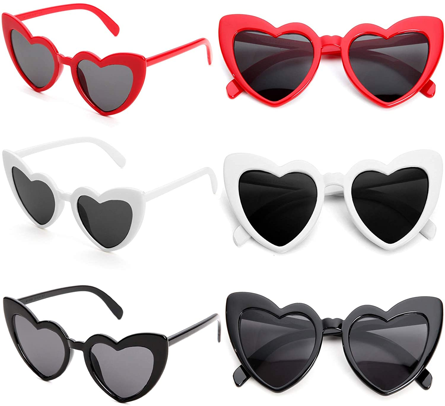 Heart Shaped Sunglasses Vintage Cat Eye Mod Style Retro Glasses Cute Eyewear for Party Favors(6 Pairs)