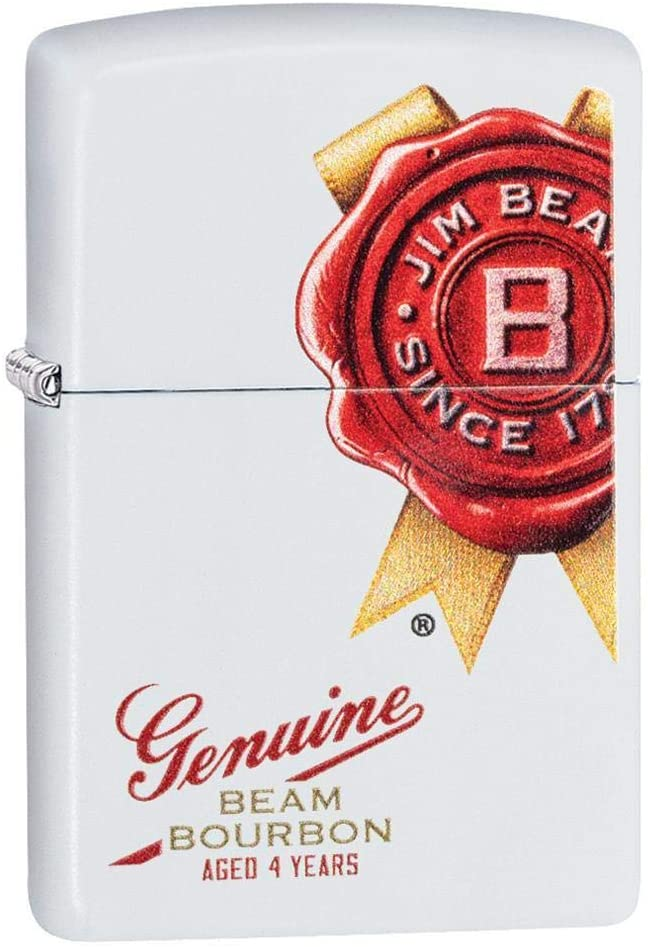 Custom Personalized White Matte Jim Beam Windproof Lighter Free Engraving #29780
