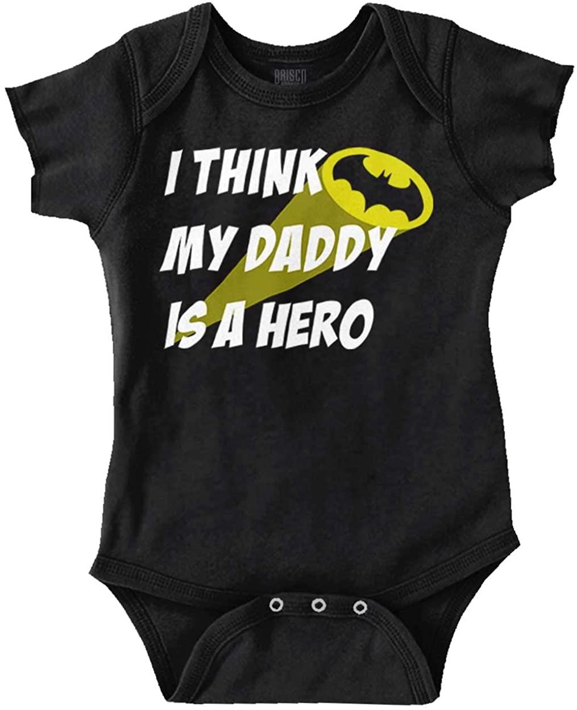 Brisco Brands My Daddy is Bat Cute Fathers Day Comic Hero Baby Romper Bodysuits