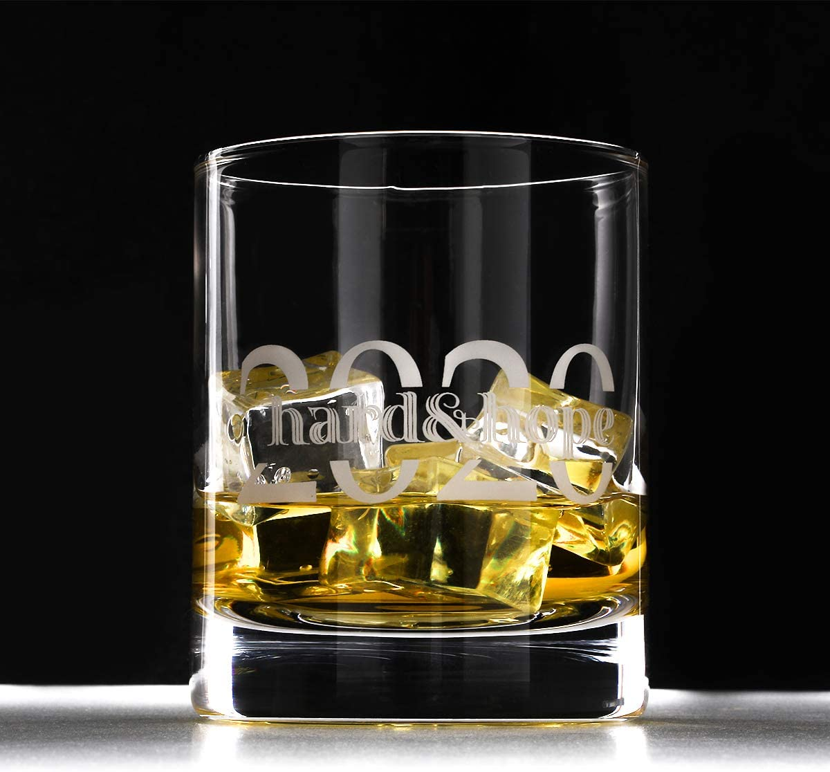 KRY Whiskey Glasses Set of 2 Souvenir for 2020 - Old Fashioned Glass Whiskey Decanter Set- Rocks Lowball Glass Crystal Scotch Glasses