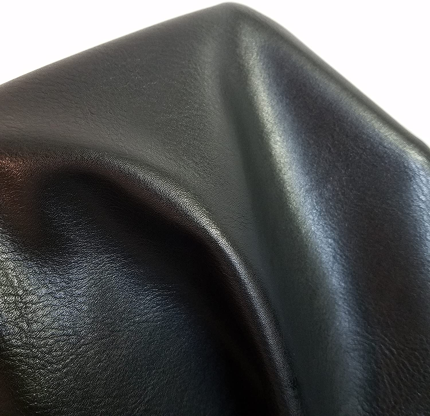 NAT Leathers | Black Soft Faux Vegan Leather PU {Peta Approved Vegan} | 1 yard (36 inch Length x 54 inch wide) cut by the yard | Synthetic Pleather 0.9 mm Nappa Smooth Vinyl Upholstery | Black 36