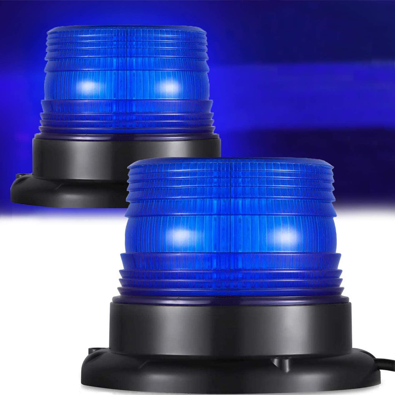 Blue Strobe Beacon Light Emergency Led Strobe Light (12V/80V) Waterproof w/Magnetic Base and Screw Mount for Firefighters Snowplows or Law Enforcement Police Car
