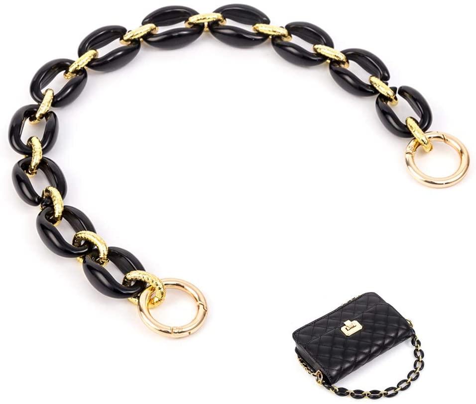 Xiazw Short DIY Bag Purse Handle Strap Chain Replacement,Handbag Cross Body Bag Decoration Chain Charms Accessories (Black - Gold)