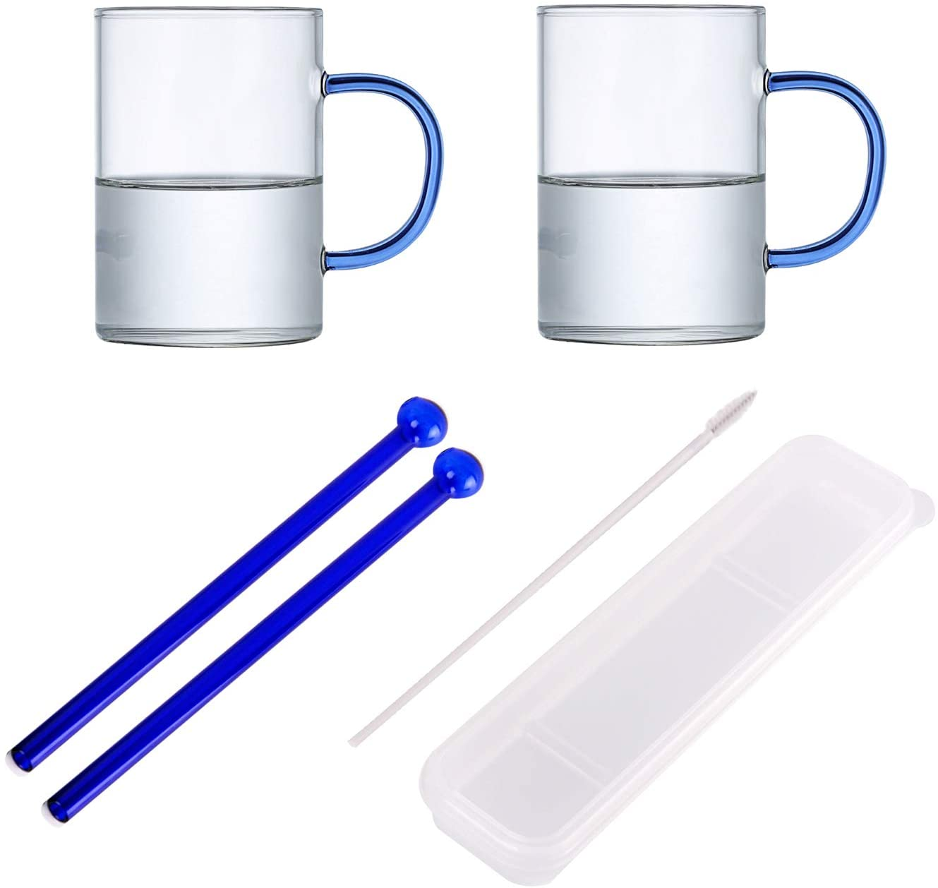 R FLORY Drinking Glass Jar Mugs with Handle and Straws Drinking Glass Beer Cocktail Wine Whiskey Cup Set (Blue)