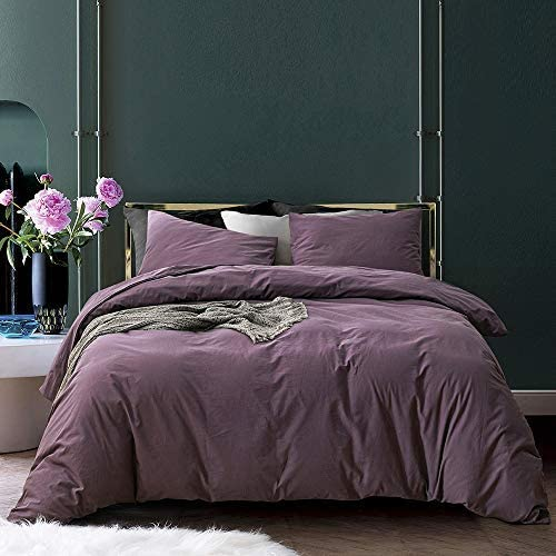 ECOCOTT Duvet Cover Queen, 100% Washed Cotton 3 Piece Duvet Cover Sets 1 Duvet Cover with Zipper and 2 Pillowcases, Ultra Soft and Easy Care Breathable Bedding Set (Lilac Purple)