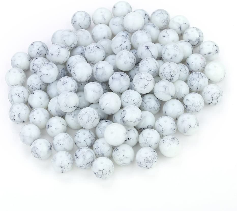 Navifoce Artistic Marble Design Various Color Round Loose Beads for Jewelry Making Craft,8mm Diameter (Light Grey)