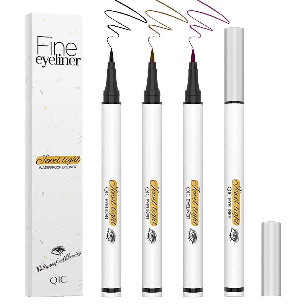 3PCS Liquid Eyeliner Pen,Tailpa Waterproof Proof Hypoallergenic Eyeliner,Long Lasting&Smudgeproof Neon Slim Eyeliners,Colored Flexible Felt Tip Eye Liner,Quick Drying Formula(Black, Brown,Rose Red)
