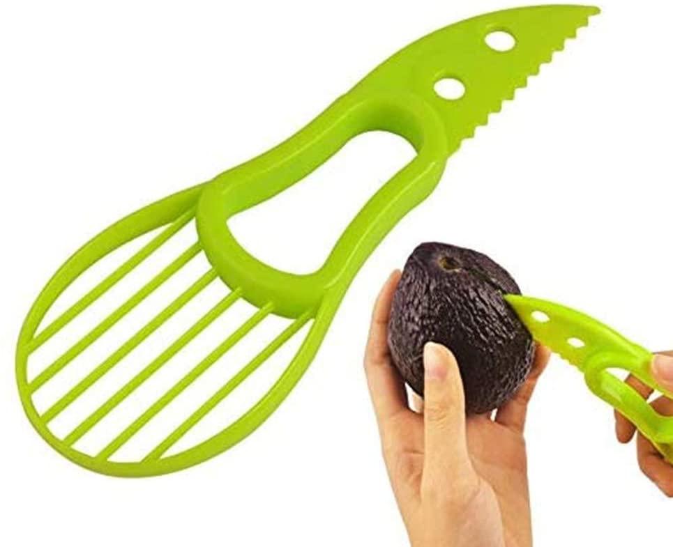 Avocado Slicer Tool, Professional Avocado Tool 3-in-1 Multifunctional Avocado Slicer,Avocado Pitters, Avocado Cutter (Green)
