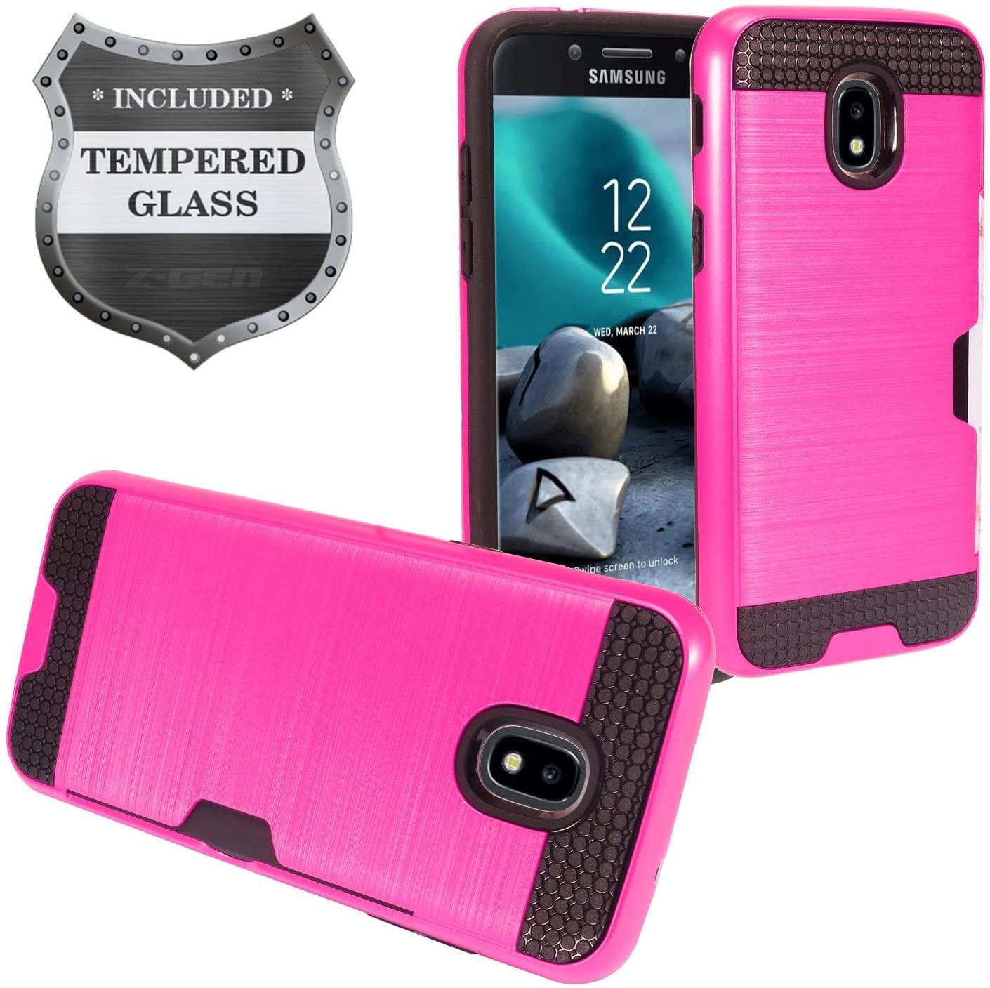 Z-GEN - Galaxy J7 2018, J7 Refine, J7 Star, J7 Crown, J7 Aura, J7 Top, J7 V J7V 2nd Gen J737 - Brushed Hybrid Phone Case w/Card Slot for Samsung + Tempered Glass Screen Protector - CS2 Hot Pink