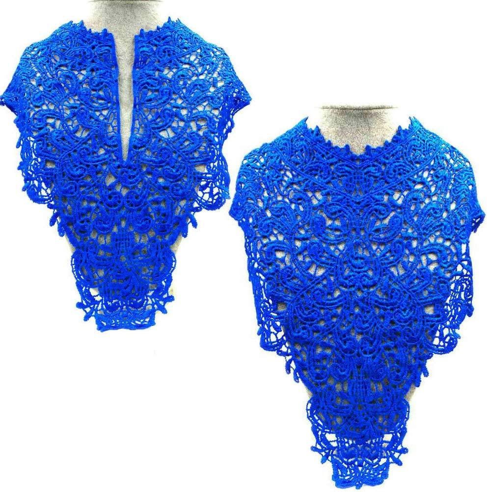 2 Pcs Exquisite Embroidery Venise Neckline Lace Large Lace Collar Costume Dress Fine Applique Motif Dress Trim Trimming for Wedding Dress Decoration Front After (Blue)