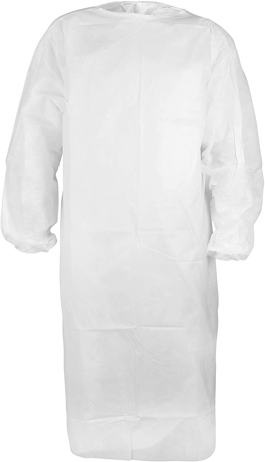 Coverallcare Medical Isolation Gown, Disposable PPE, Non-Woven, Water Resistant with Elastic Cuff, 40 GSM 10/20/30/40/50/100 Piece (10)