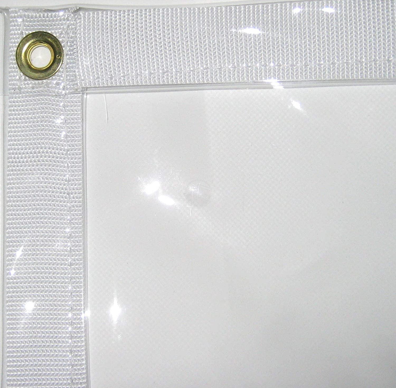 "Canopies and Tarps Waterproof & Flame-Retardant Clear PVC Vinyl Tarp, 8' x 20' – 2"" Wide Poly Web Hem for Tear Strength"