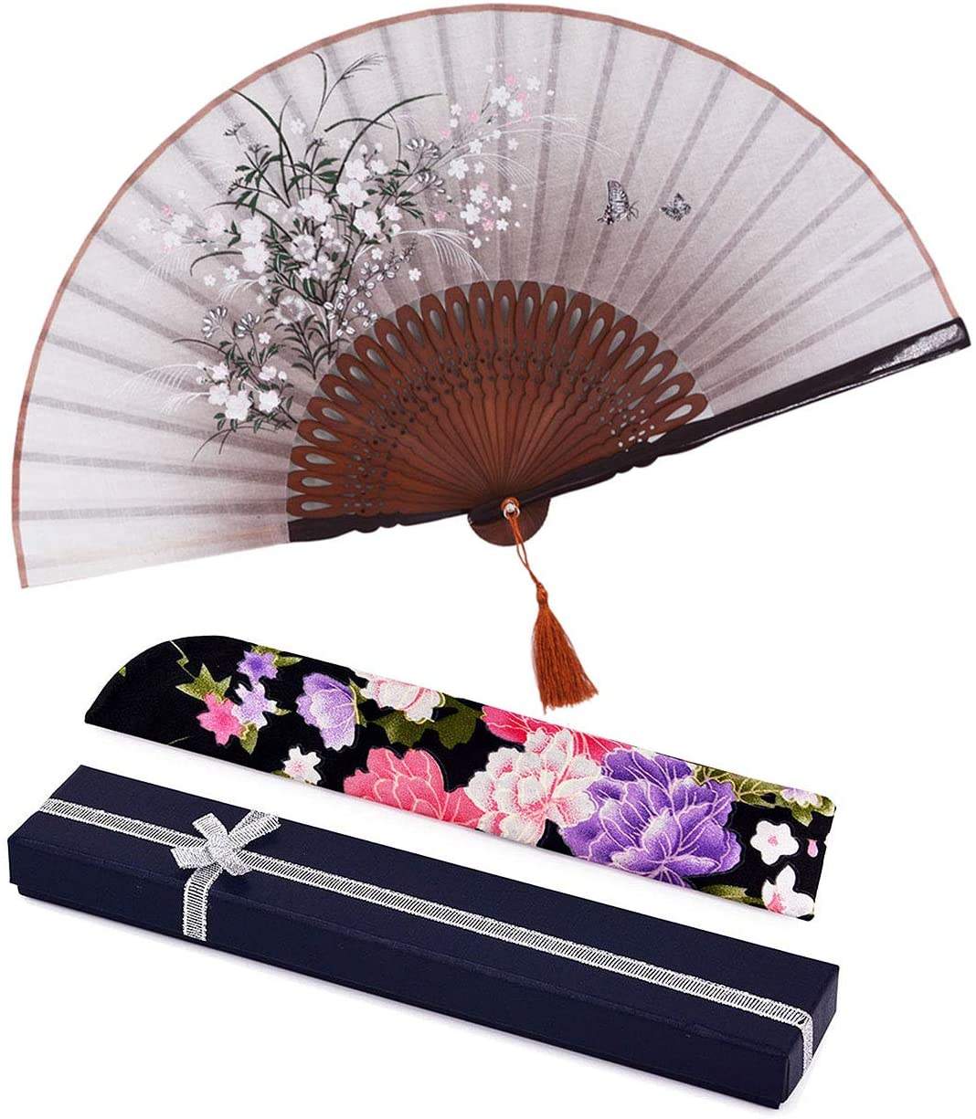 Amajiji Folding Fan, 8.27(21cm) Women Hand Held Silk Folding Fans with Bamboo Frame, Hollow Carve Patterns Bamboo Frame Women Hand Folding Fans Gift Fan Craft Fan (Brown with Gift Box)
