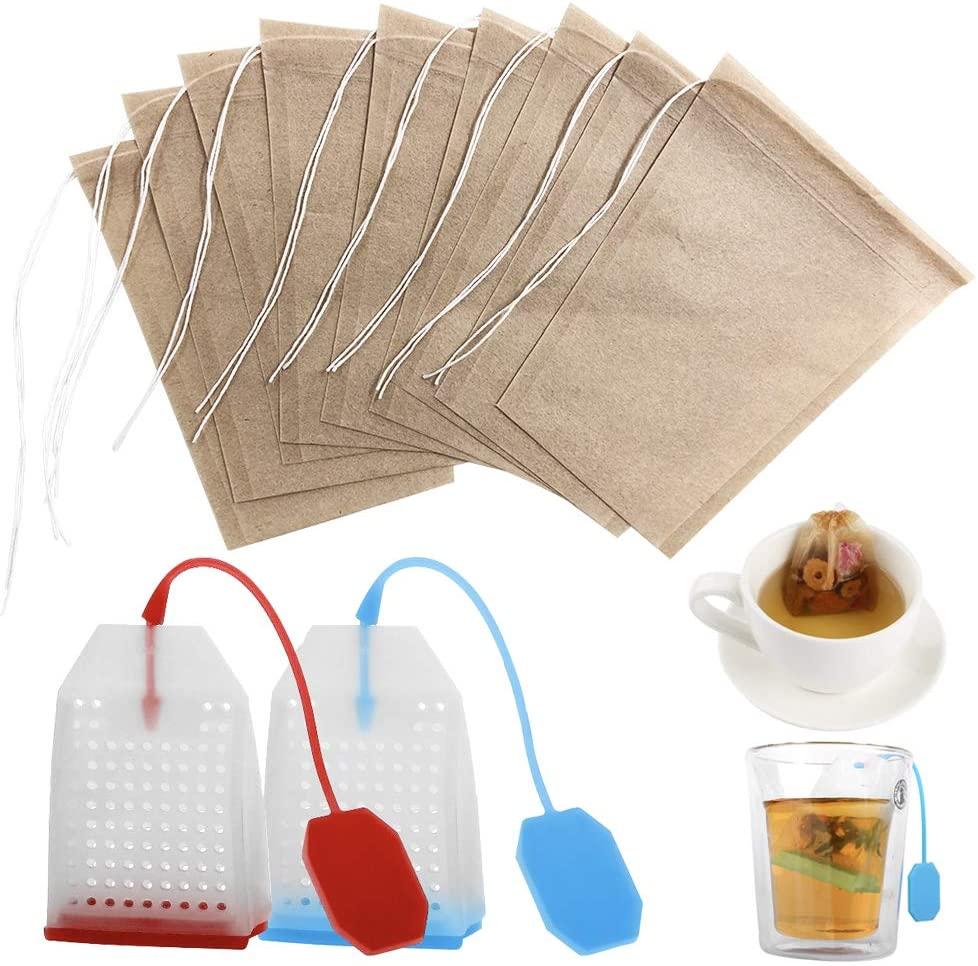 102 pcs Tea Filter Bags, FineGood 100 pcs Unbleached Paper Disposable Tea Infuser with Drawstring, 2 pcs Reusable Safe Loose Leaf Tea Strainer