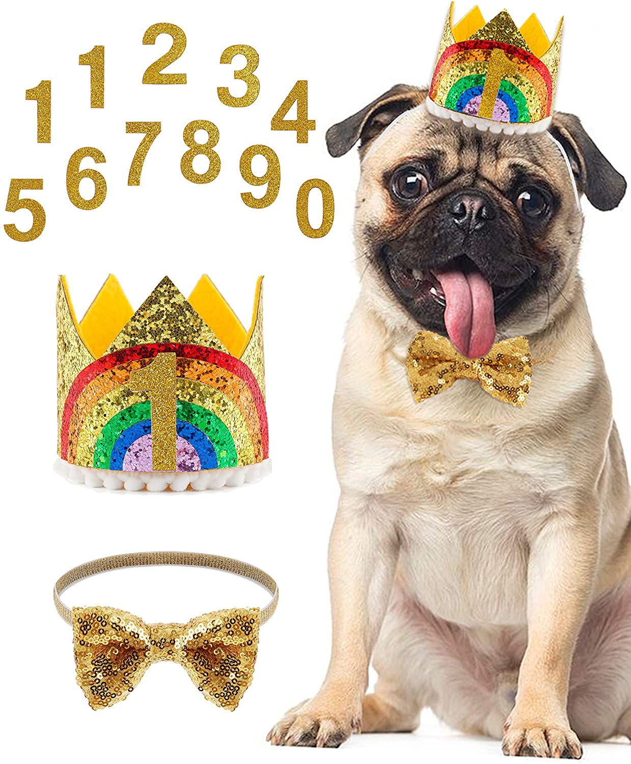 Coucoland Pet Birthday Hat and Bow Tie Sequined Birthday Costume Crown and Bow Tie for Dog Cat Birthday Party Supplies