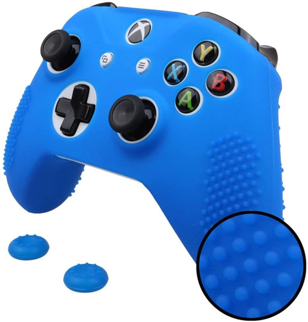 Sololife Xbox One Controller Grip Silicone Skin Case Anti-Slip Protective Grip Cover for Xbox One S & One X Controller with 2 Thumb Grips (Blue)