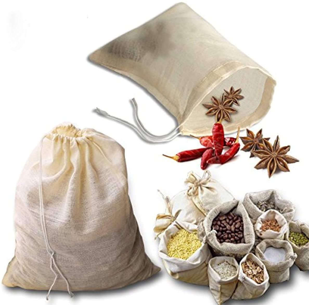 LACKINGONE 3 Pcs Organic Cotton Nut Milk Bag Reusable Cotton Soup Bags with Drawstring for Filter Herbs Coffee Tea Soup Porridge, 25 x 20 cm