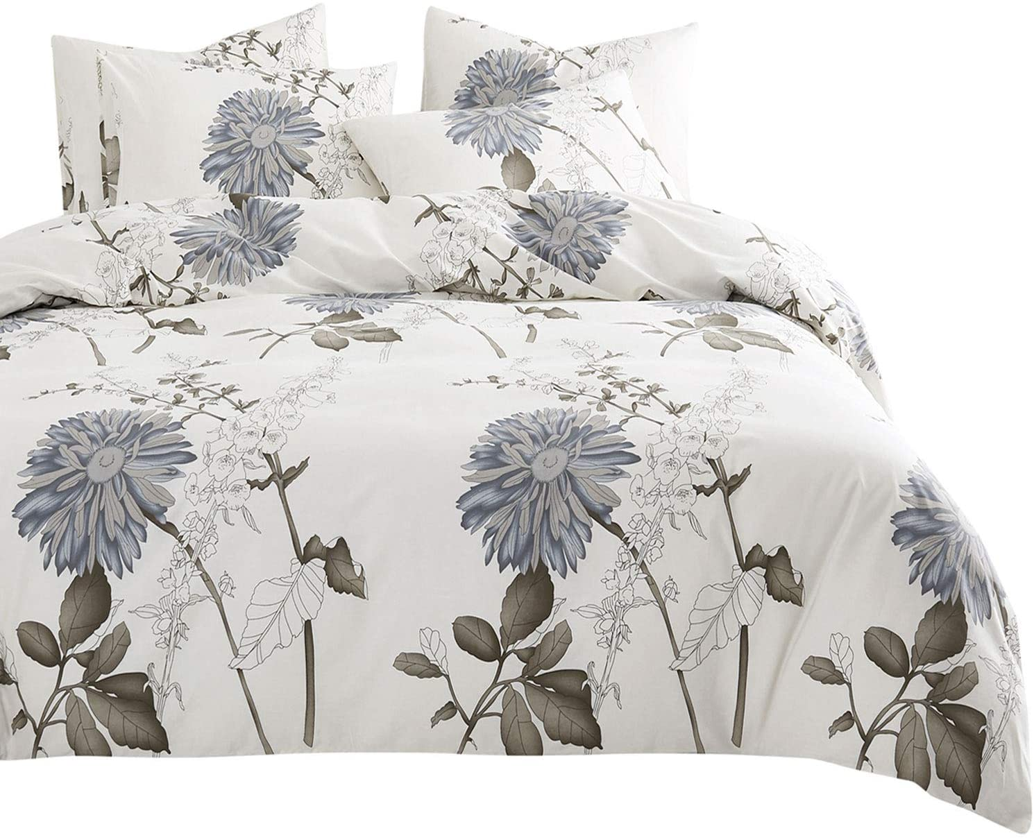 Wake In Cloud - Floral Comforter Set, 4 Pillow Cases, Botanical Flowers Pattern Printed, 100% Cotton Fabric with Soft Microfiber Inner Fill Bedding (Queen Size)