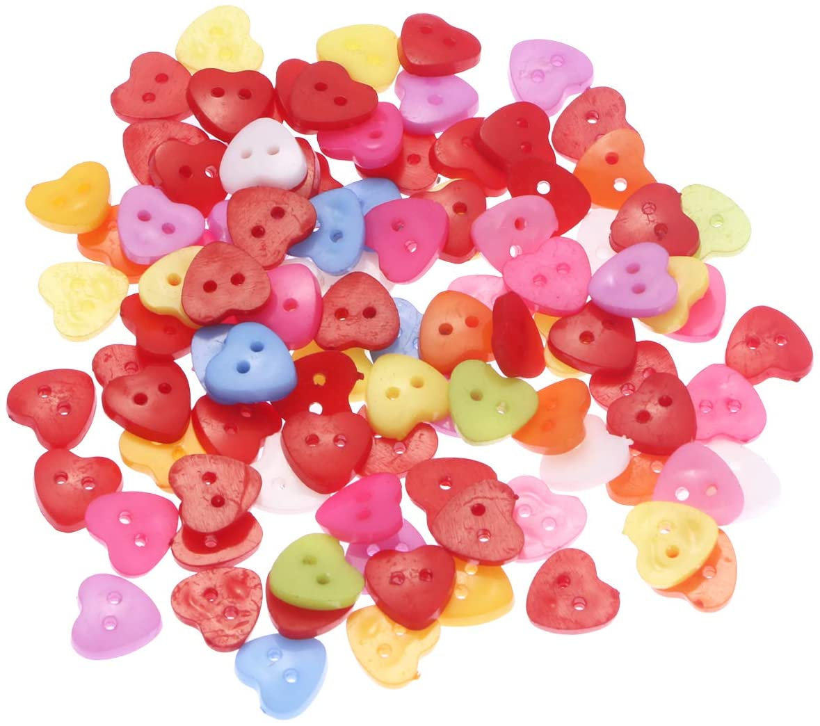 Foxnovo 100pcs Cute Heart Shaped Multicolor 2 Holes Resin Sewing Buttons for Sewing /Scrapbooking /Knitting (Random Color)