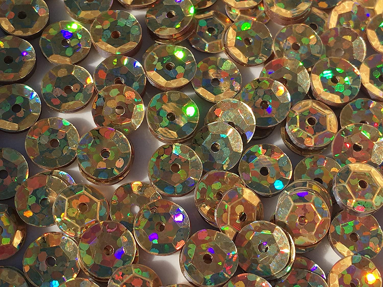Sequins 8mm 1000/Pkg Crazy Dots Finish Gold
